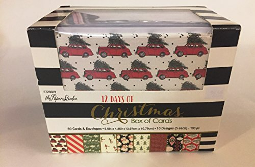 12 Days of Christmas Box of Textured Cards, Blank Inside, 50 Sets, Trees, Ornaments, Vintage Car ()