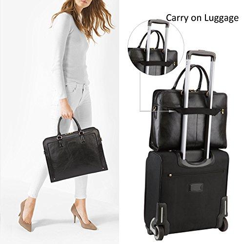 f1d19ee2150e1 Banuce Women s Full Grains Leather Briefcase Messenger Satchel Bag 14  Laptop Case Black  Amazon.com.au  Fashion