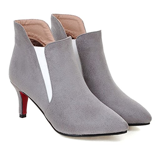 Kaloosh Women's Nubuck Leather Pointed Toe and Thin Heel Boots Gray HwBjXlHi