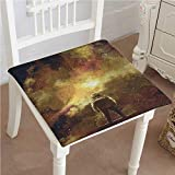 Mikihome Classic Decorative Chair pad Seat Cosmonaut Boy Standing Against Cosmos Nebula Themed Solar Artprint Tan Black Cushion with Memory Filling 20''x20''x2pcs
