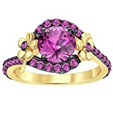 2heart 1CT Pink Sapphire Round Cut Sim Diamond Flower Engagement Ring 14K Yellow Gold Plated