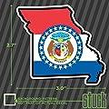 "SMALL Missouri State Outline Flag - 3.0""x2.7"" - vinyl decal sticker"