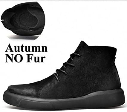 Keep Warm Winter Men Split Leather Shoes with Plush Rubber Boots