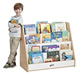 ECR4Kids Colorful Essentials 4-Tier Book Display Stand, White and Maple