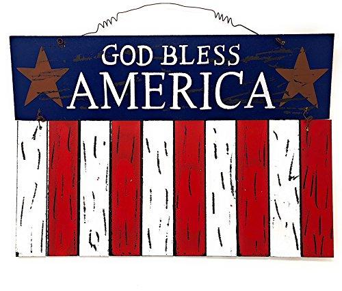 D.I. Inc God Bless America Patriotic Rustic Decor Wall Art Front Door Display (15.8