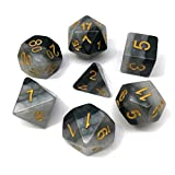 D&D Gaming Dice Polyhedral Dice Set for Dungeons and Dragons DND RPG MTG Table Games including Dice Bags (Grey Gradients )