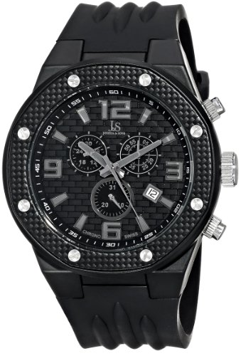 Joshua & Sons Men's JS62BK Black Multifunction Swiss Quartz Watch with Black Dial and Black Silicone Strap