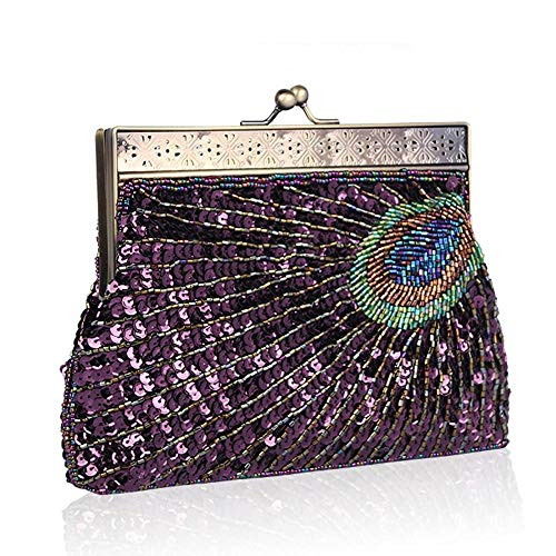 Wedding Bag Purple Handbag for Women Bags Evening Party Bridal Tail Prom Clutch Beaded Sequins Peacock Vintage Peacock aZ5pqwPx