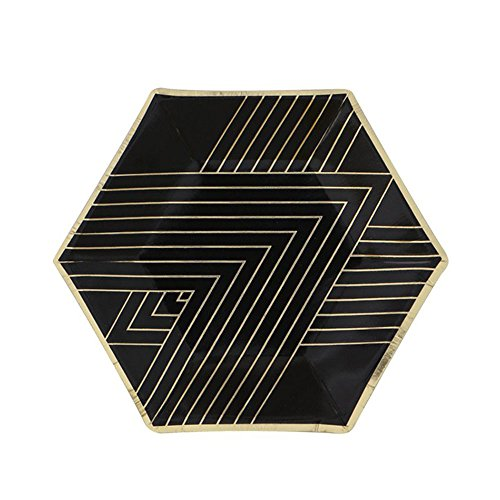 - SOCOSY Chic Black Star Paper Plates Disposable Plates Paper Dessert Snack Plate with Gold Stripe for Party Birthday Wedding 8''/10''(Set of 8)