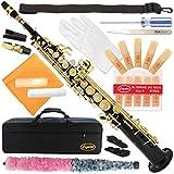 300-BK-BLACK/GOLD Keys Bb STRAIGHT SOPRANO Saxophone Sax Lazarro+11 Reeds,Care Kit~22 COLORS~SILVER or GOLD KEYS~CHOOSE YOURS !