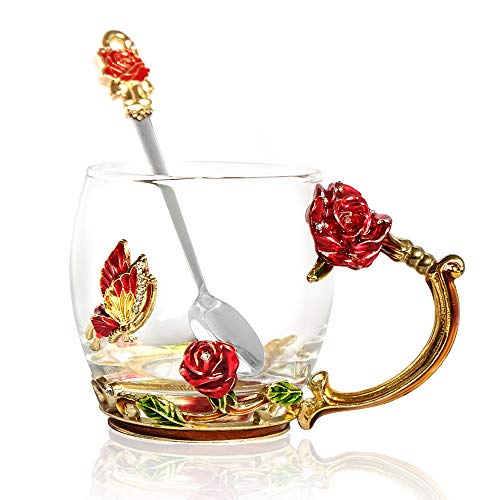 POSTWAVE Tea Cup Coffee Mug Cups Clear Glass & Spoon Handmade rose Flower for Birthday Wedding Anniversary Valentine's Day Mom Wife Gift Cup