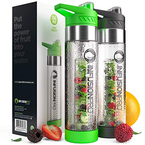 Infusion Pro Premium 2 Pack Fruit Infused Water Bottle - Bottom Infuser with Flip Top Lid -Large 24 Oz BPA Free Tritan Plastic - Green and Black Sports Combo,Fruit Flavored Water Ebook Recipes
