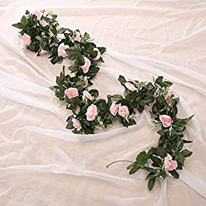 Furnily Artificial Flowers Vine Rose Fake Flower Garland for Decoration 30