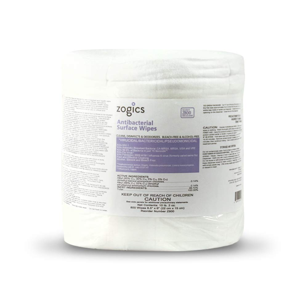 Zogics Antibacterial Surface and Gym Equipment Disinfecting Wipes 4 rolls, 3,200 wipes