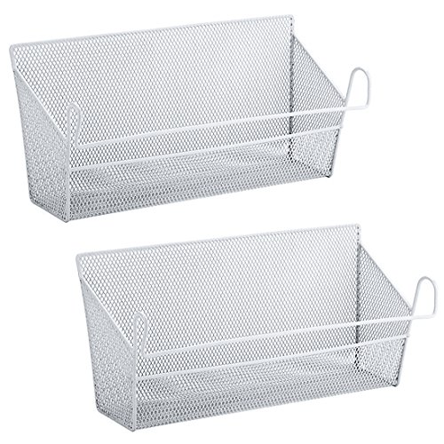 - YIFAN 2Pack Dormitory Bedside Storage Baskets, Mesh Origanizer Caddy for Books Phones Drinks Office Home Table Hanging Organizer Desktop Corner Shelves (White)