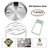 #2: Steamer Basket Rack Set for Instant Pot Accessories - Fits Instant Pot 5, 6, 8qt Pressure Cooker with Foldable Bowl Plate Dish Clip Clamp, Stainless Steel 3 Packs