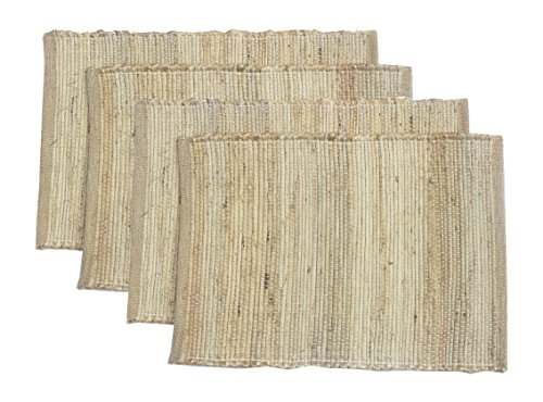 Chardin home Eco-friendly Natural Jute/Hemp Placemats (set of 4 mats). Size: 13'' X 19''. by Chardin home