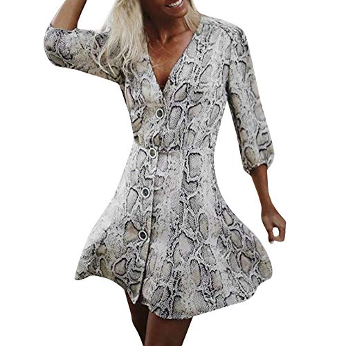 iHPH7 Women Snakeskin Print Button V Neck Long Sleeve Mini Dress Party Dress -
