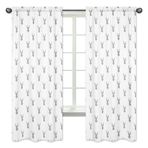Sweet Jojo Designs 2-Piece Grey and White Woodland Deer Boys Bedroom Decor Window Treatment Panels from Sweet Jojo Designs