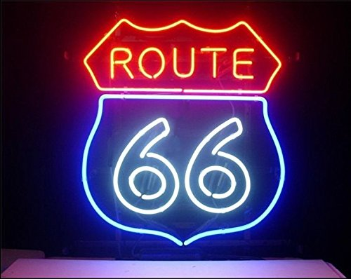 Route 66 Real Glass Beer Bar Pub Store Party Room Wall Windows Display Neon Signs 19x15