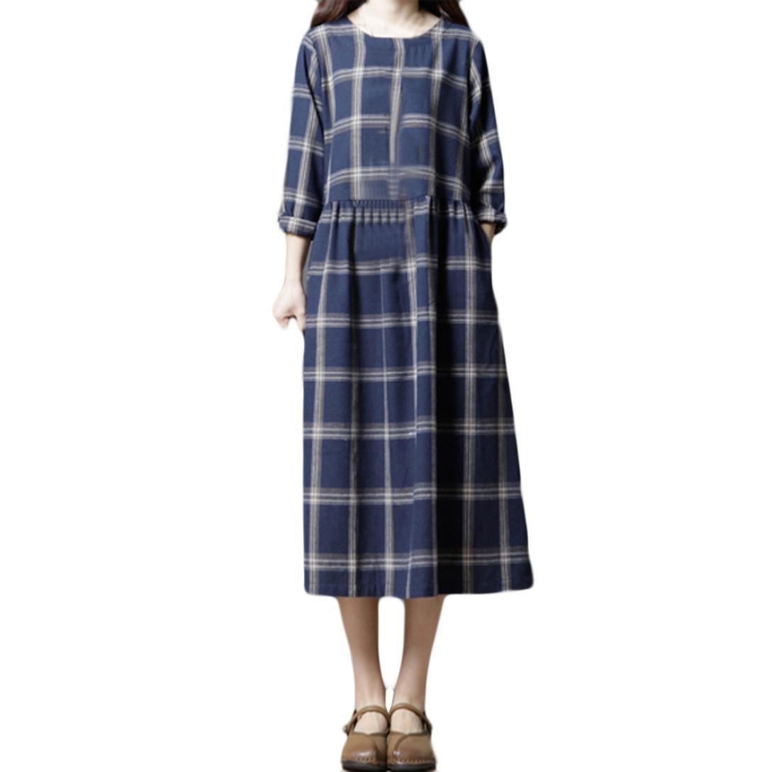 Shybuy Women's Casual Classic Check Loose Midi Dress Vintage Long Sleeve Cotton Tunic Dress (Dark Blue, XL)