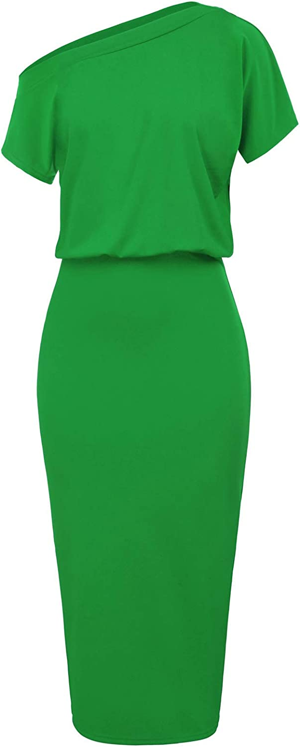 GRACE KARIN Women's Sexy One Shoulder Hips-Wrapped Bodycon Party Pencil Dress