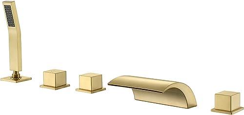 Hanallx Roman Tub Filler Waterfall Tub Faucet Brushed Gold Deck Mount Bathtub Faucets Brass Bathroom Faucets