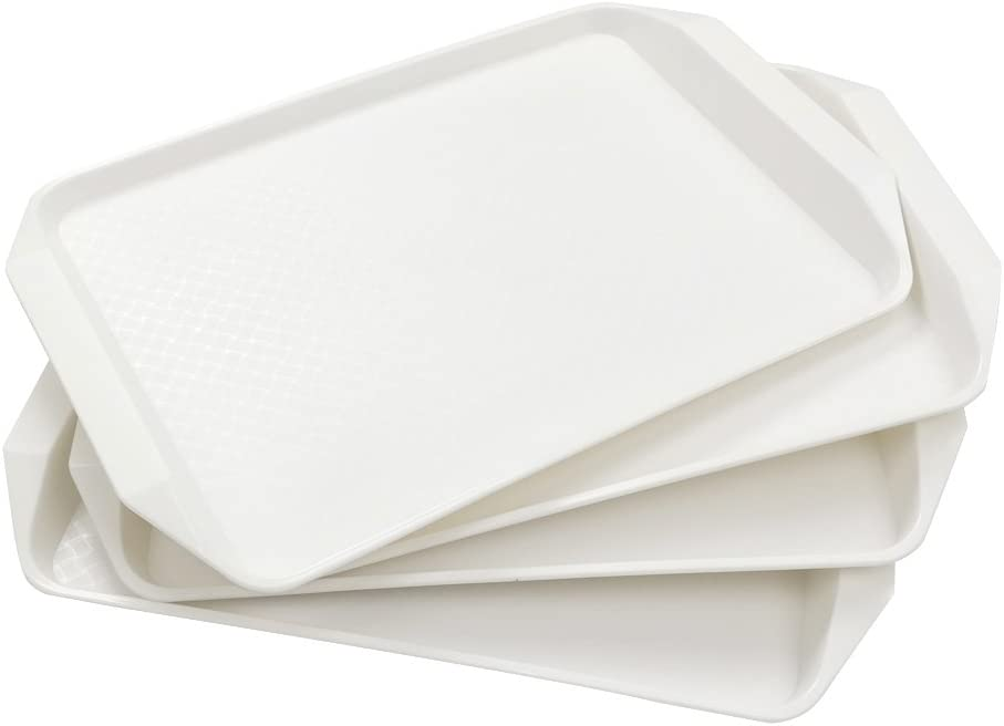 Lesbin White Plastic Fast Food Serving Trays, 16.9-Inch by 12-Inch, Set of 4