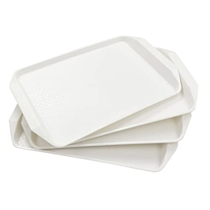 Lesbin White Plastic Fast Food Serving Trays, 16.9-Inch by 12-Inch,