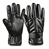 Winter Warm Gloves Men's Leather Driving Outdoor Sports Fleece Lined Touch Screen Texting Gloves by REDESS