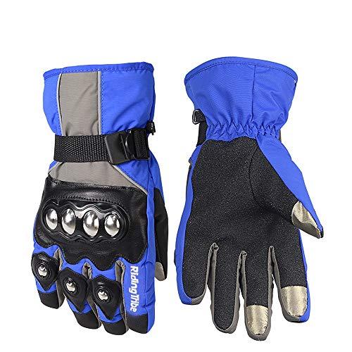 Ocamo Unisex Motorcycle Gloves Winter Warm Waterproof Touchscreen Protector Gear Motorbike Riding Gloves Blue L