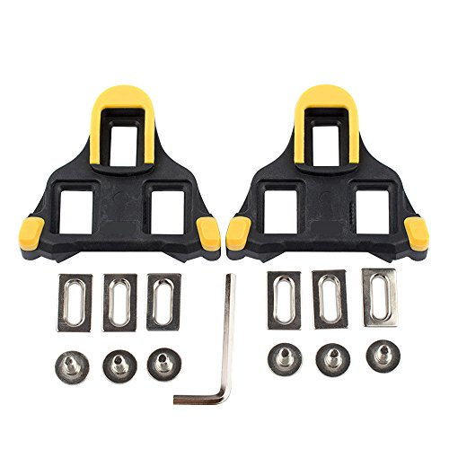 Beststar Bike Cleats – Self-Locking Cycling Pedals Cleat – Indoor Cycling & Road Bike Bicycle Cleat Set, Compatible with Shimano&Look Shoes #81539(Yellow)