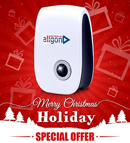 Pest Control. Ultrasonic Repellent.Electronic Plug In Pest Repeller ALLGON for Bugs, Rodents,Roaches,Mice,Ants,Flies,Spiders,Mosquitoes Etc.Safe and Natural With Bonus Mosquito Repellent Bracelet.
