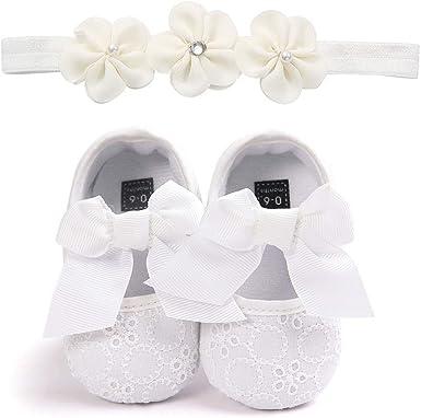 Carolilly Chaussures B/éb/é Fille Premiers Pas Bowknot Chaussures Nouveau-N/é Princesse Bapt/ême C/ér/émonie En PU Cuir Anti Slip