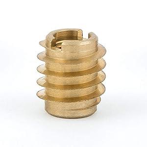 """E-Z Lok 400-008 Threaded Insert, Brass, Knife Thread, #8"""", 8-32 Internal Threads, 0.375"""" Length (Pack of 25)"""