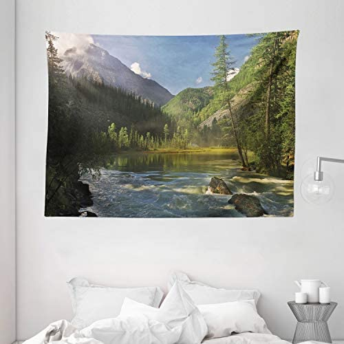 Ambesonne Landscape Tapestry, Mountain Lake West Siberia Altai Mountains Katun Ridge Alpine Forest Morning View, Wide Wall Hanging for Bedroom Living Room Dorm, 80 X 60 , Green Blue