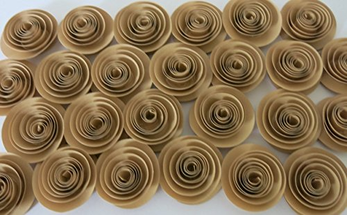 Brown Artificial Shade (Tan Paper Flowers Set of 24, Small Light Brown Roses, Buy in Bulk, Rustic Wedding Decorations, Natural Earth Tone Color, Neutral Shade 1.5