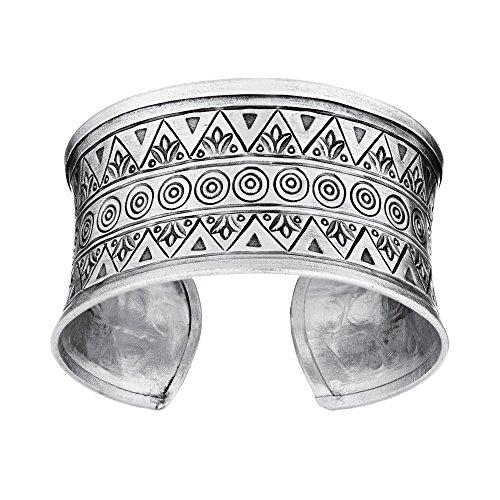 81stgeneration Women's .999 Fine Silver Karen Hill Tribe Patterned Cuff Adjustable Bangle Bracelet