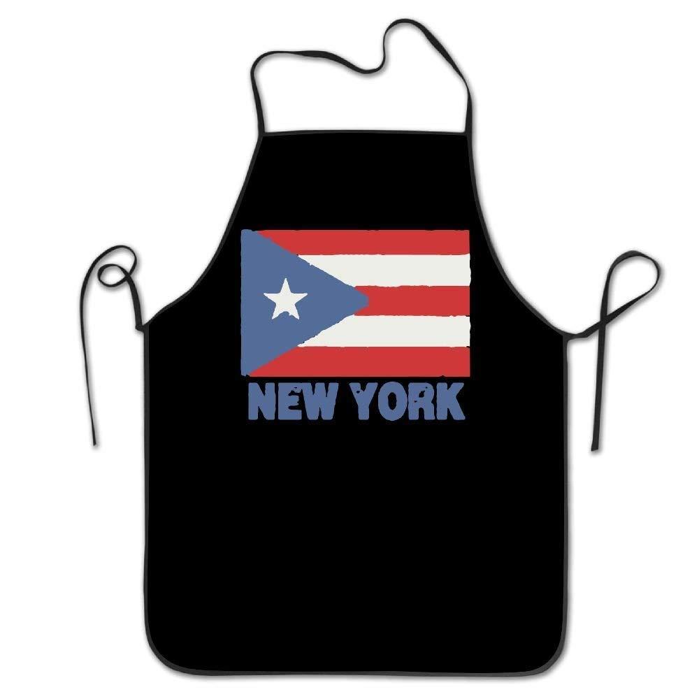 amiuhoun ニューヨークプエルトリコ国旗 レディース メンズ キッチン ビブエプロン ベーカリー ティーショップ 調節可能なネックシェフエプロン   B07GQSW546