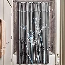 """iDesign Thistle Wide Fabric Shower Curtain for Master, Guest, Kids', College Dorm Bathroom, 72"""" x 84"""", Gray and Blue"""