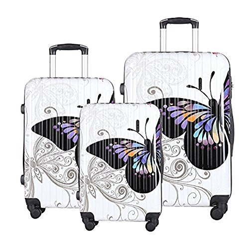 HyBrid & Company Luggage Set Durable Lightweight Hard Case Spinner Suitcase LUG3-PC04, 3 Pieces, Butterfly