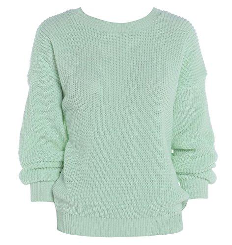 Hina Fashion Womens/Ladies grande Plain de lana gruesa de punto Top Manga Larga Jersey verde menta