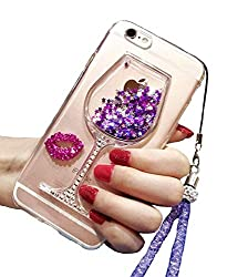 Case Compatible Wine Glass Designe for iPhone 6 With Purple Sequins and Rhinestones