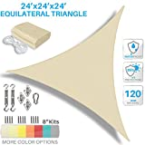 Patio Paradise 24' x 24' x 24' Waterproof Sun Shade Sail with Stainless Steel Hardware-Beige Equilateral Trangle UV Block Durable Awning Canopy Outdoor Garden Backyard Available