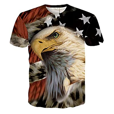 Hatton Men's American Flag Eagle 3D Printed T-shirt XS-XXL