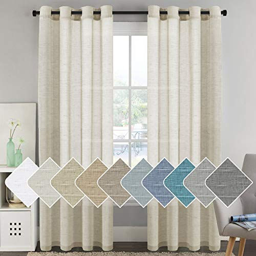 H.VERSAILTEX Home Decorative Privacy Window Treatment Linen Curtains/Natural Linen Blended Sheer Curtains/Panels/Drapes, Nickel Grommets, Natural Color, 96 Inches Long Living Room - Fabric Blend Drapery Linen
