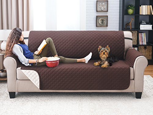 Deluxe Reversible Sofa Furniture Protector, Coffee / Tan (Pet Furniture Cover)