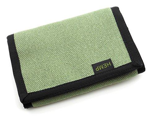 Hempmania Hemp Eight Compartment Tri-fold Wallet - Sage - One Size