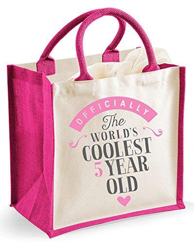 5th regalo de cumpleaños, bolsa, quinto cumpleaños, cuatro años niña regalos,–Bolsa mediana 30cm x 30cm x 19cm, regalos para niñas, 5º cumpleaños bolsas de fiesta, regalos, quinto cumpleaños quin Rosa