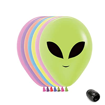 "10 Pack 11"" Alien Faces Pastel Latex Balloons with Matching Ribbons: Toys & Games [5Bkhe2000747]"